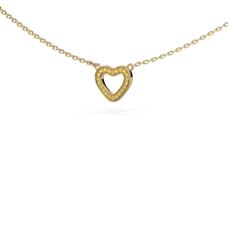 Hanger Heart 4 375 goud gele saffier 0.8 mm