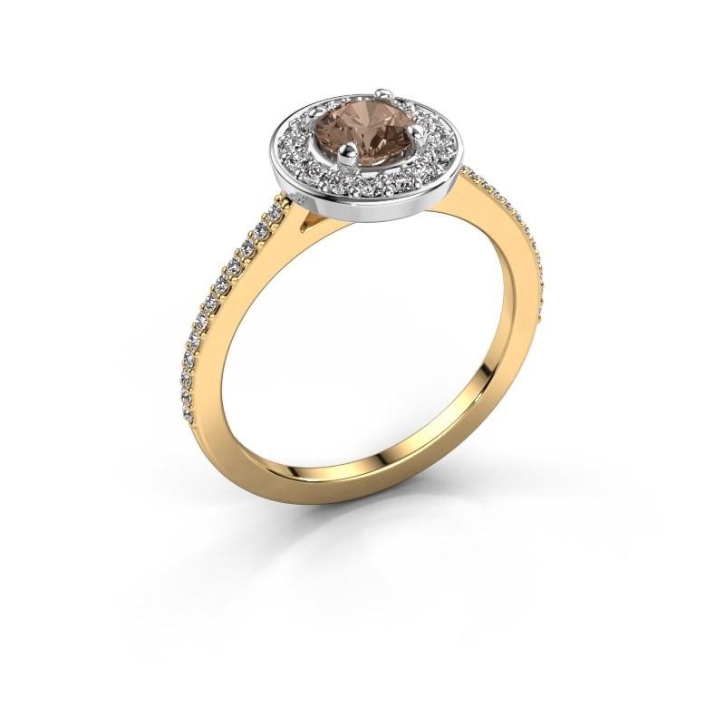 Ring Agaat 2 585 gold brown diamond 0.78 crt