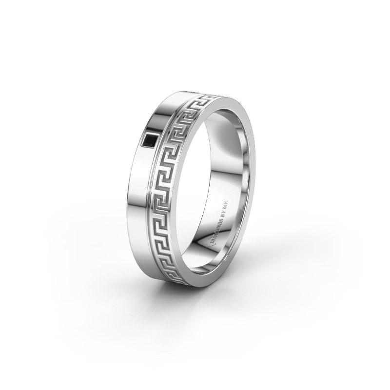 Huwelijksring WH0252L24X 585 witgoud zwarte diamant ±4x1.5 mm