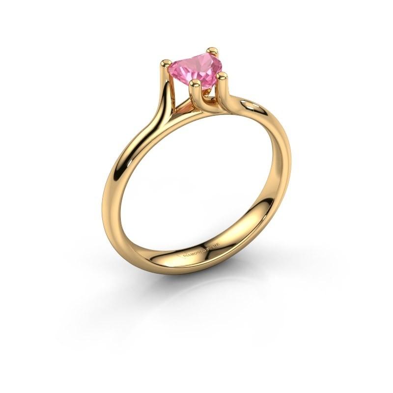 Verlobungsring Dewi Heart 375 Gold Pink Saphir 5 mm