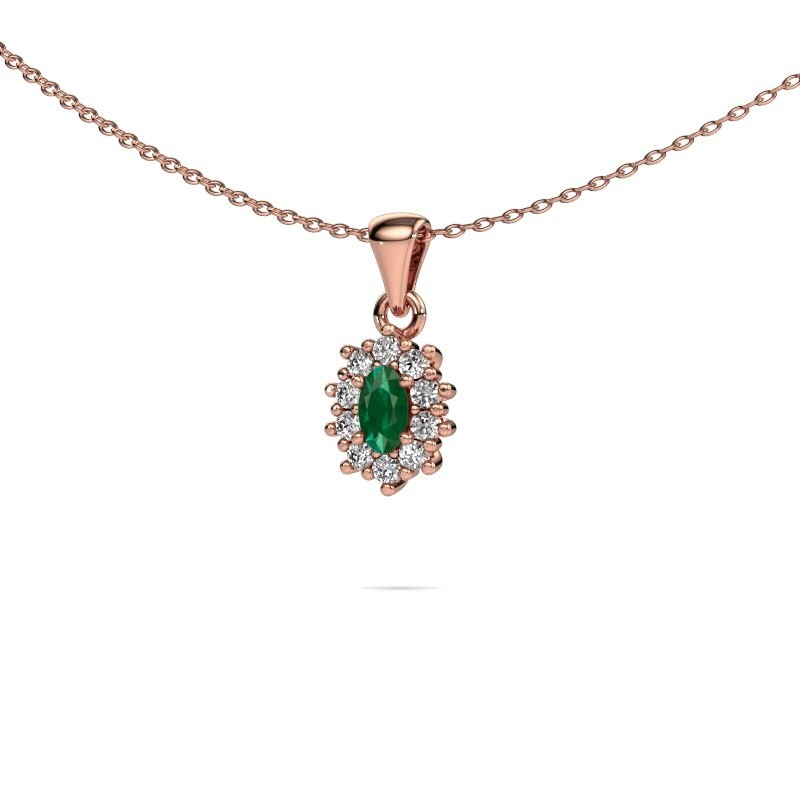 Ketting Leesa 375 rosé goud smaragd 7x5 mm