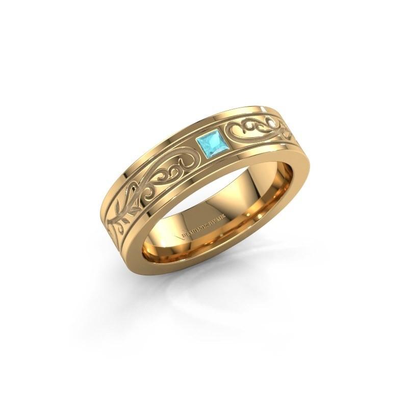 Heren ring Matijs 375 goud blauw topaas 3 mm