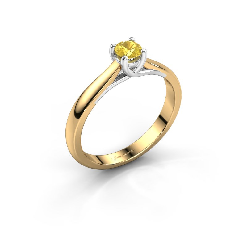 Bague de fiançailles Mia 1 585 or jaune saphir jaune 4 mm