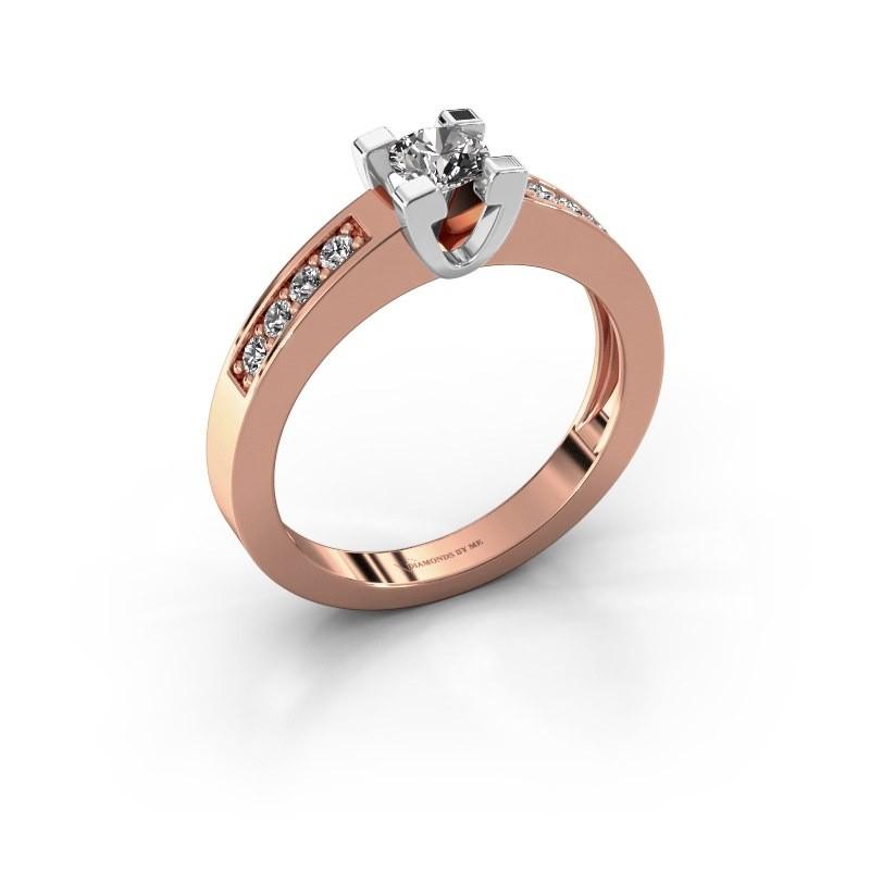 Aanzoeksring Anne 2 585 rosé goud diamant 0.25 crt
