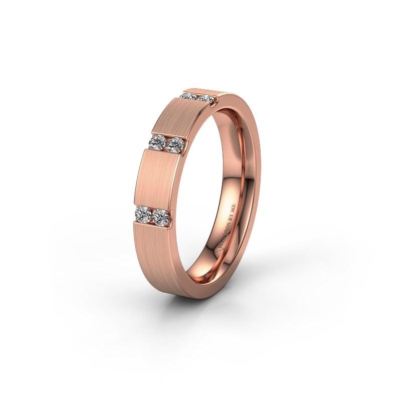 Trouwring WH2133L14BM 375 rosé goud lab-grown diamant ±4x2.2 mm