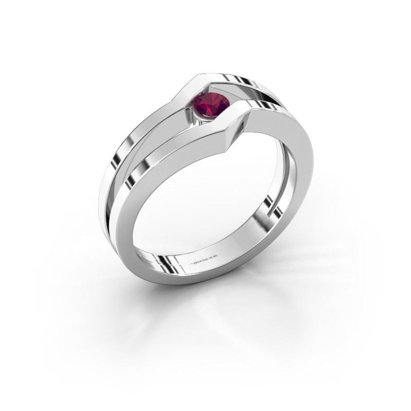 Ring Elize 585 witgoud rhodoliet 3.4 mm