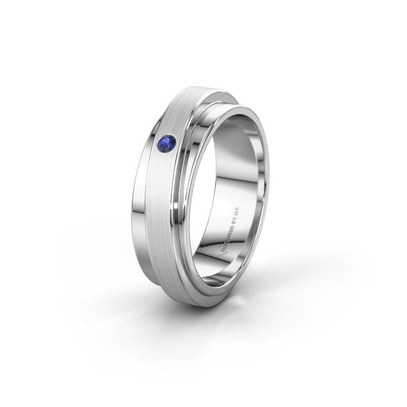 Huwelijksring WH2220L16D 585 witgoud saffier ±6x2.2 mm