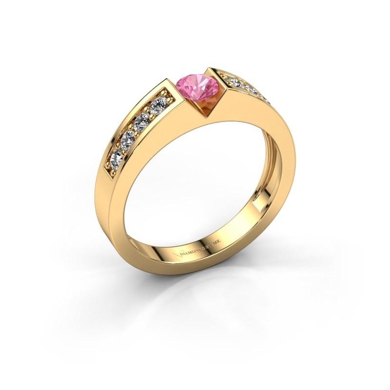 Verlovingsring Lizzy 2 375 goud roze saffier 4.2 mm