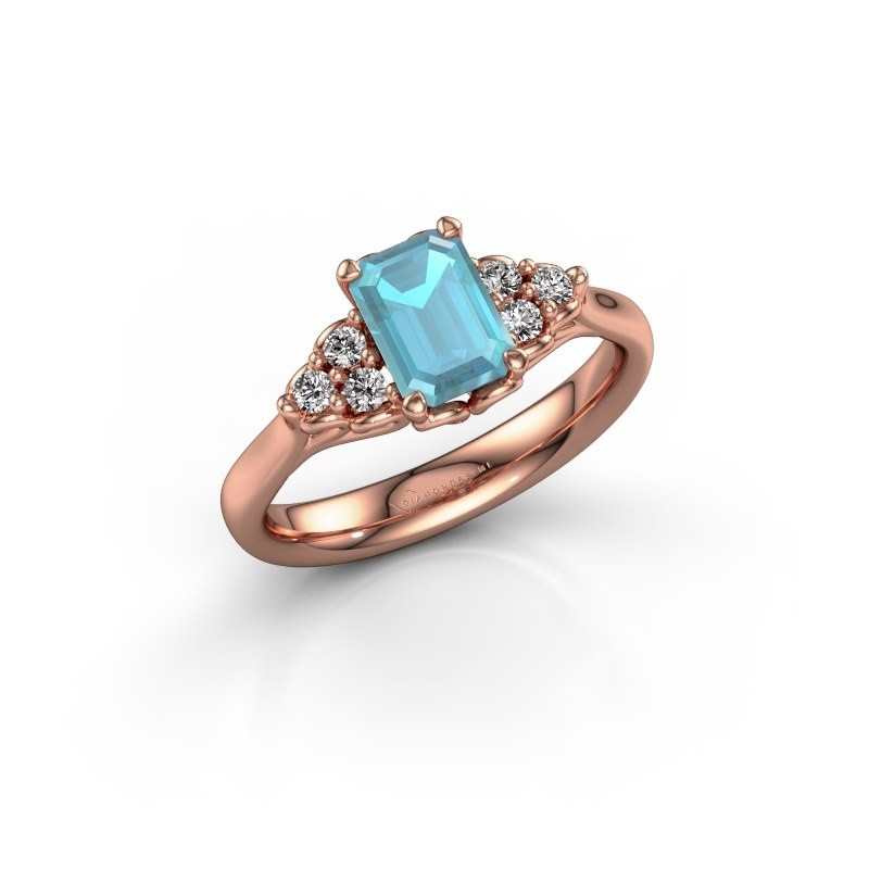 Engagement ring Myrna EME 375 rose gold blue topaz 7x5 mm