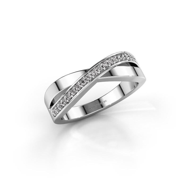 Ring Kaley 585 witgoud zirkonia 1.2 mm