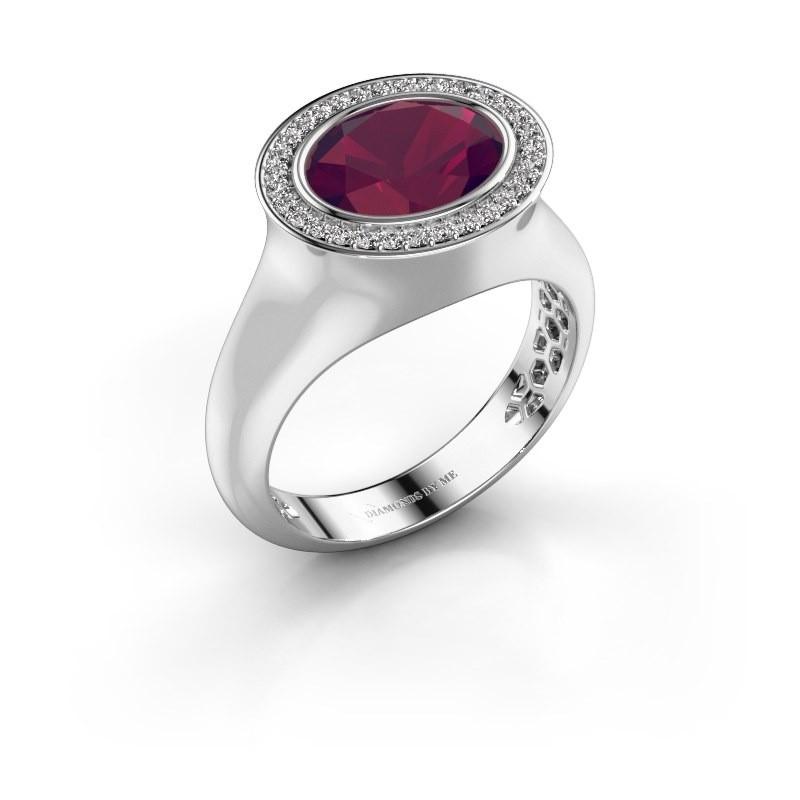Ring Phebe 925 zilver rhodoliet 10x8 mm