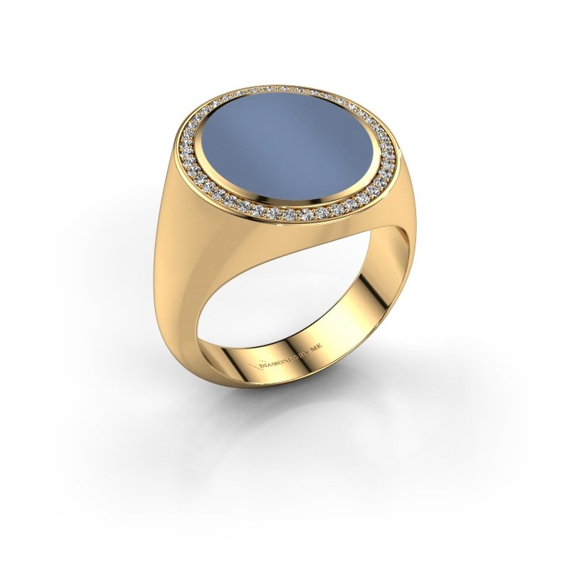 Zegelring Adam 5 375 goud licht blauwe lagensteen 15x13 mm