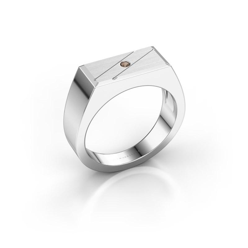 Men's ring Dree 3 950 platinum smokey quartz 2 mm