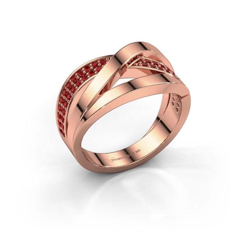 Ring Amira 375 rosé goud robijn 1.2 mm