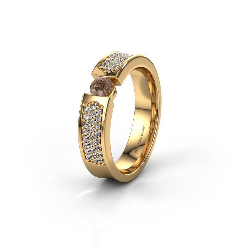 Trouwring WH2100L 375 goud bruine diamant ±5x3 mm