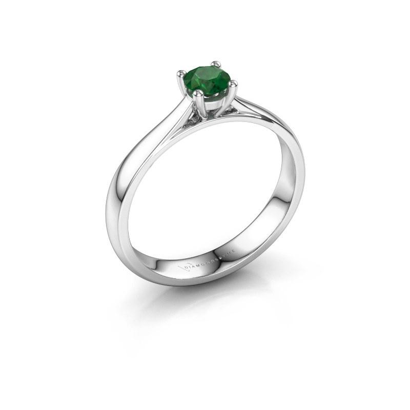 Engagement ring Sam 585 white gold emerald 4.2 mm