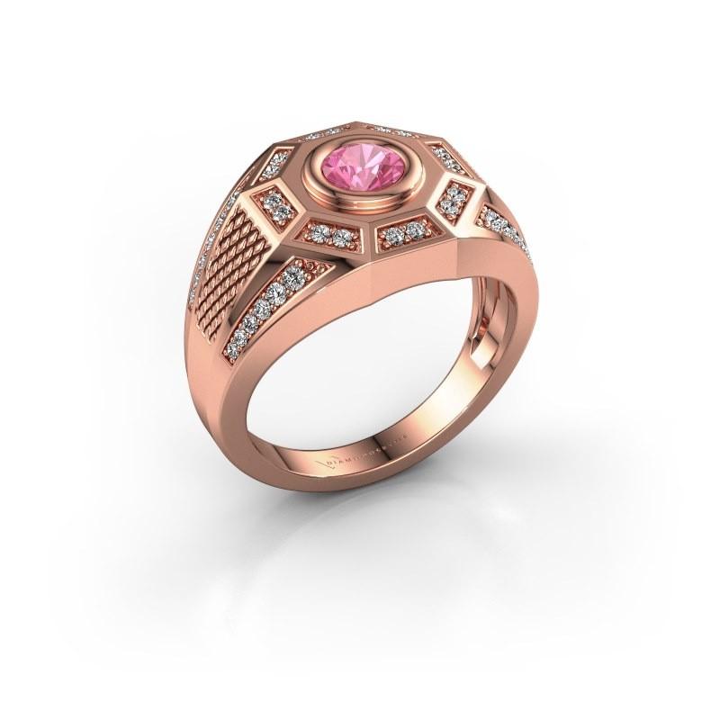 Heren ring Enzo 375 rosé goud roze saffier 5 mm