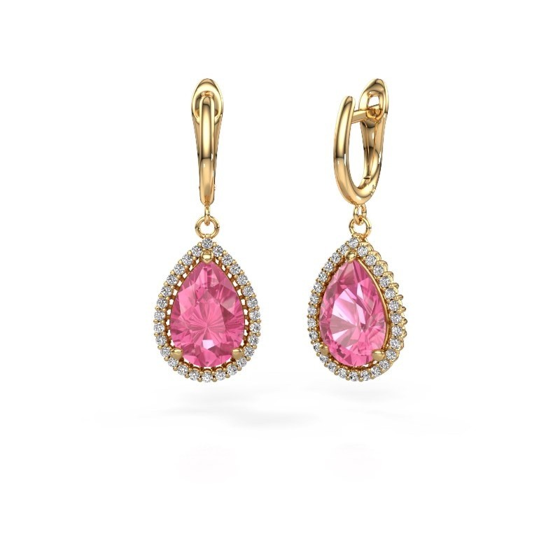 Drop earrings Tilly per 3 585 gold pink sapphire 12x8 mm