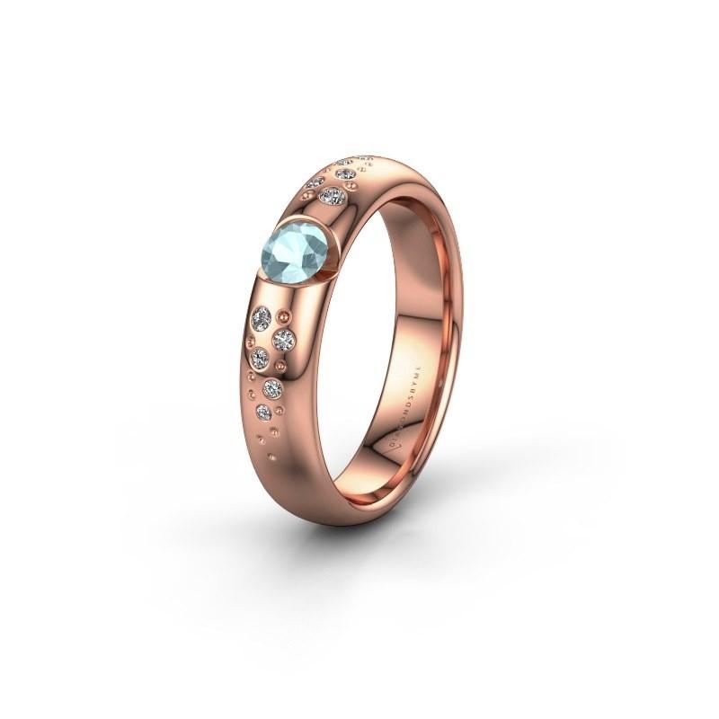 Trouwring WH2104L34A 375 rosé goud aquamarijn ±4x1.7 mm
