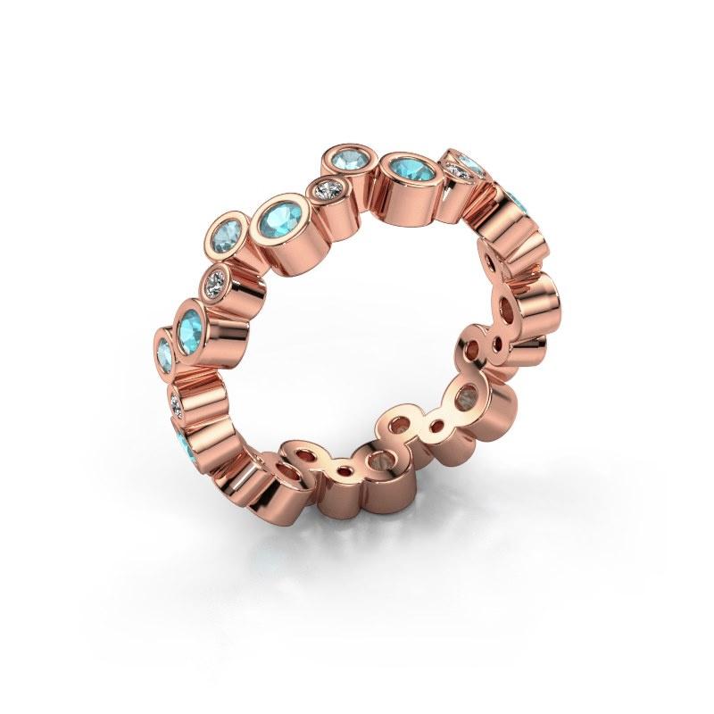 Ring Tessa 585 rosé goud blauw topaas 2.5 mm