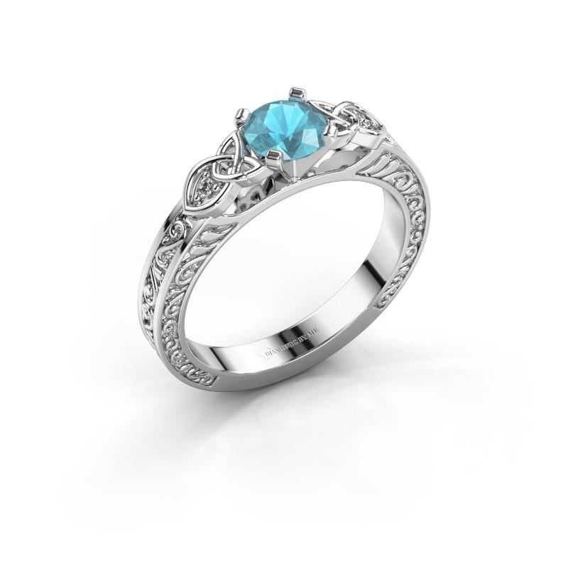 Verlovingsring Gillian 950 platina blauw topaas 5 mm