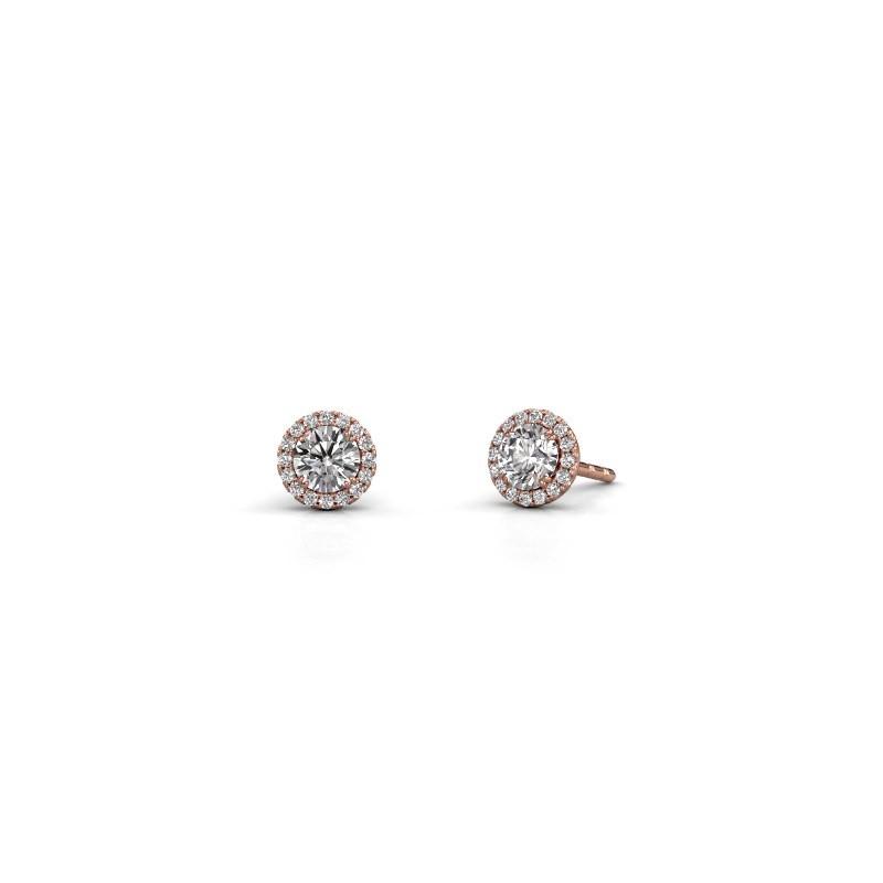 Earrings Seline rnd 375 rose gold diamond 0.74 crt