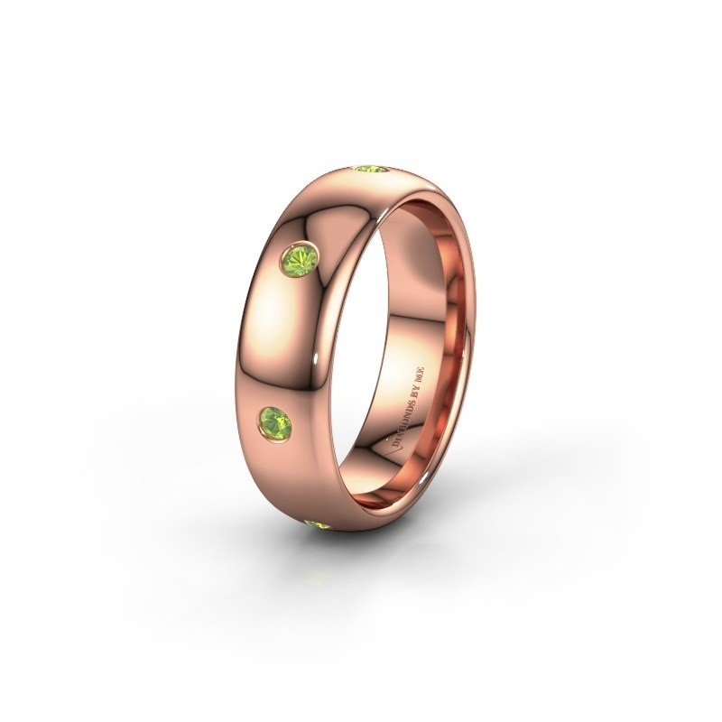 Wedding ring WH0105L36BP 375 rose gold peridot ±6x2 mm