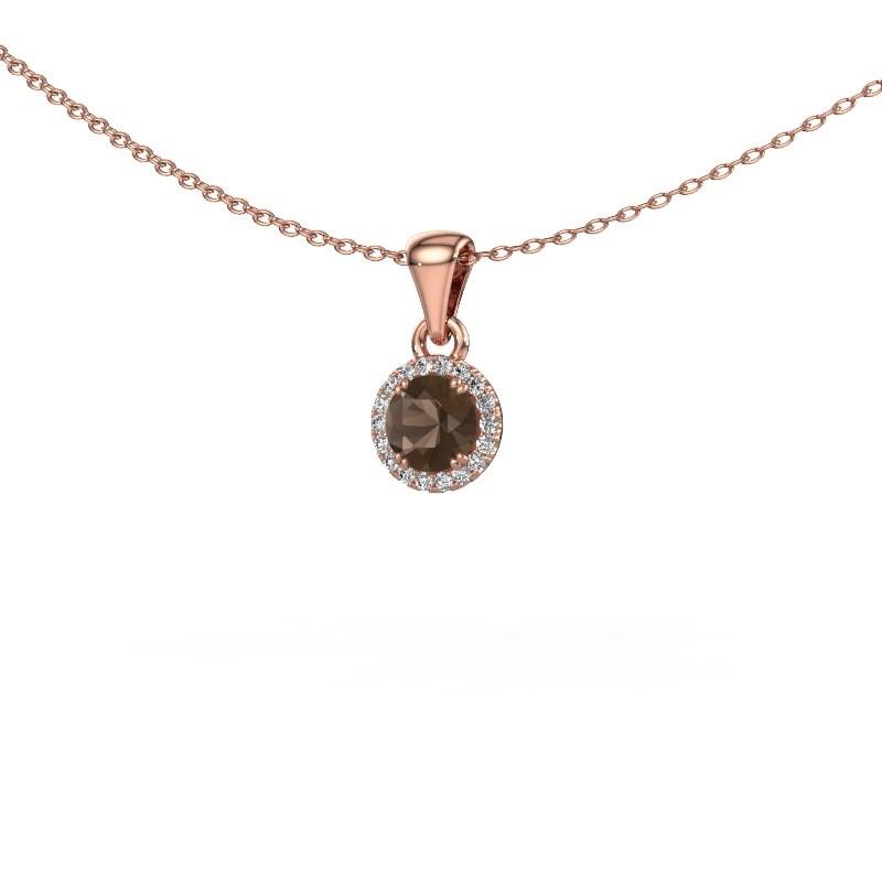 Hanger Seline rnd 375 rosé goud rookkwarts 4.7 mm