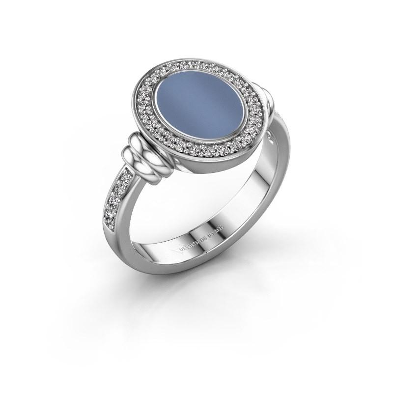Zegelring Frido F 950 platina licht blauwe lagensteen 10x8 mm