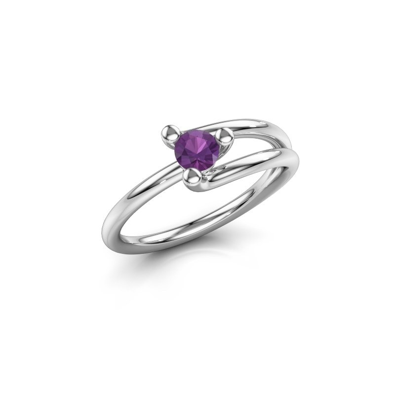 Engagement ring Roosmarijn 950 platinum amethyst 4 mm