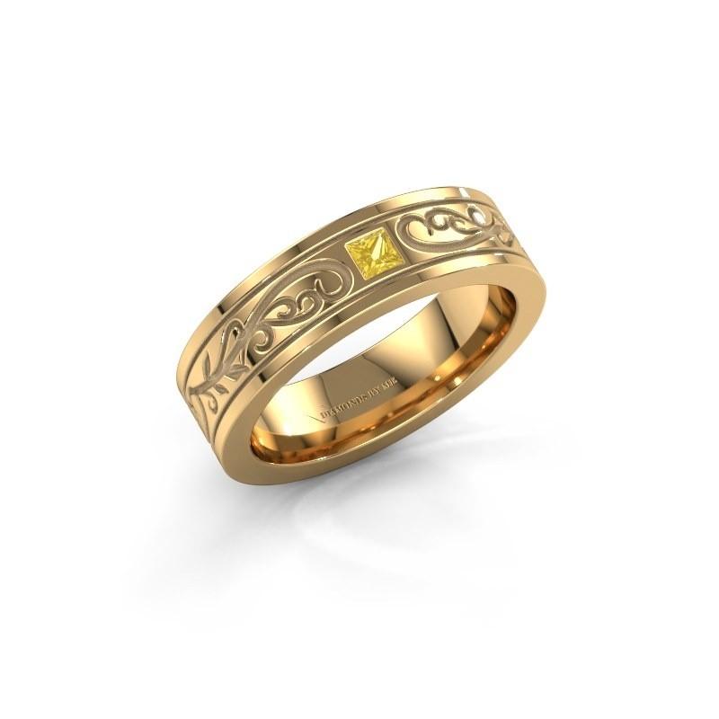 Men's ring Matijs 375 gold yellow sapphire 3 mm