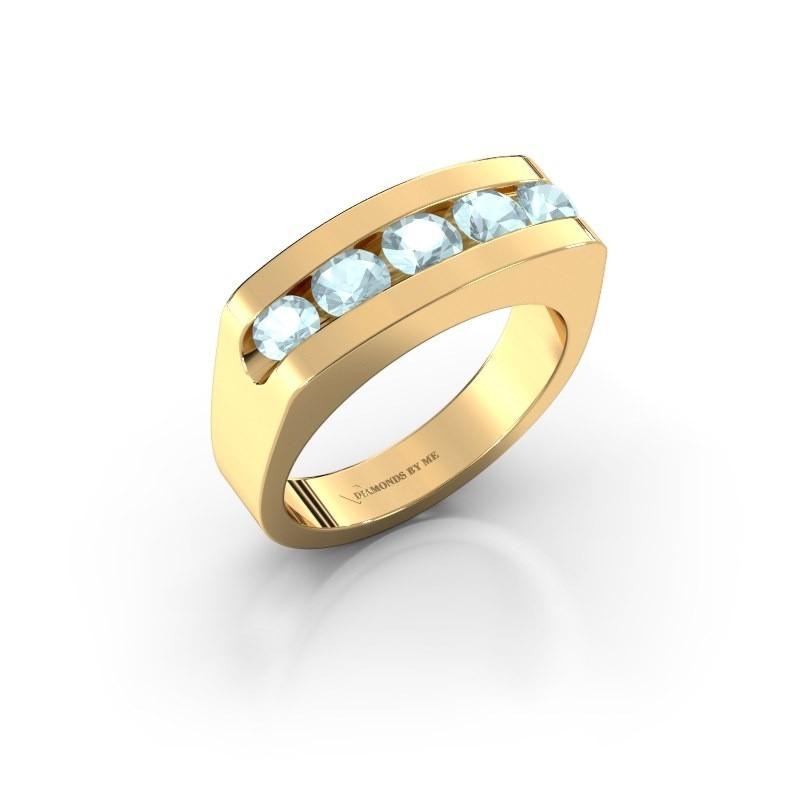 Heren ring Richard 375 goud aquamarijn 4 mm