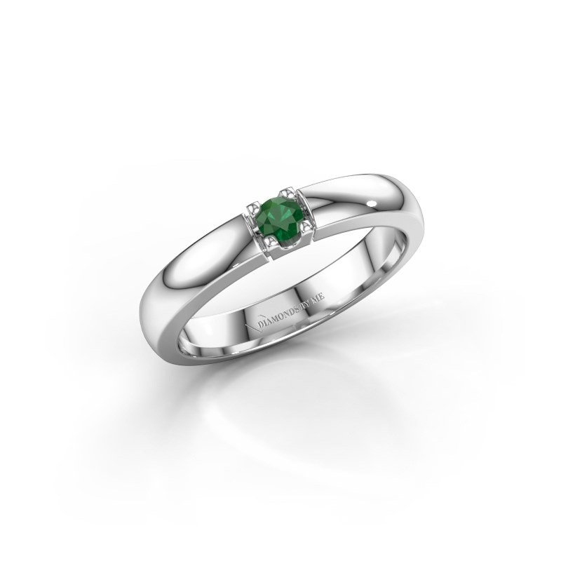 Engagement ring Rianne 1 925 silver emerald 3 mm