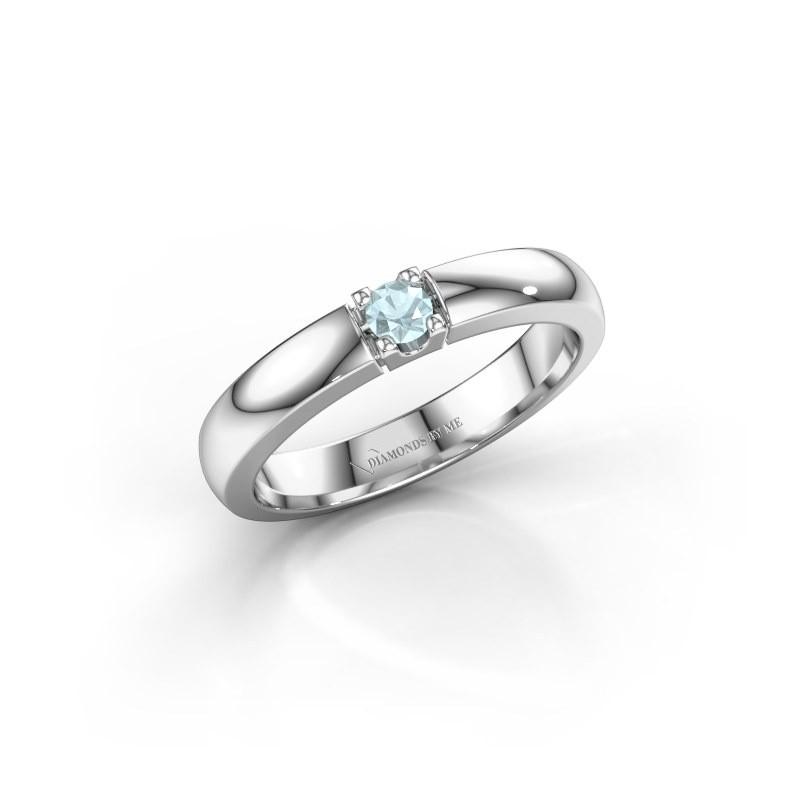 Engagement ring Rianne 1 585 white gold aquamarine 3 mm