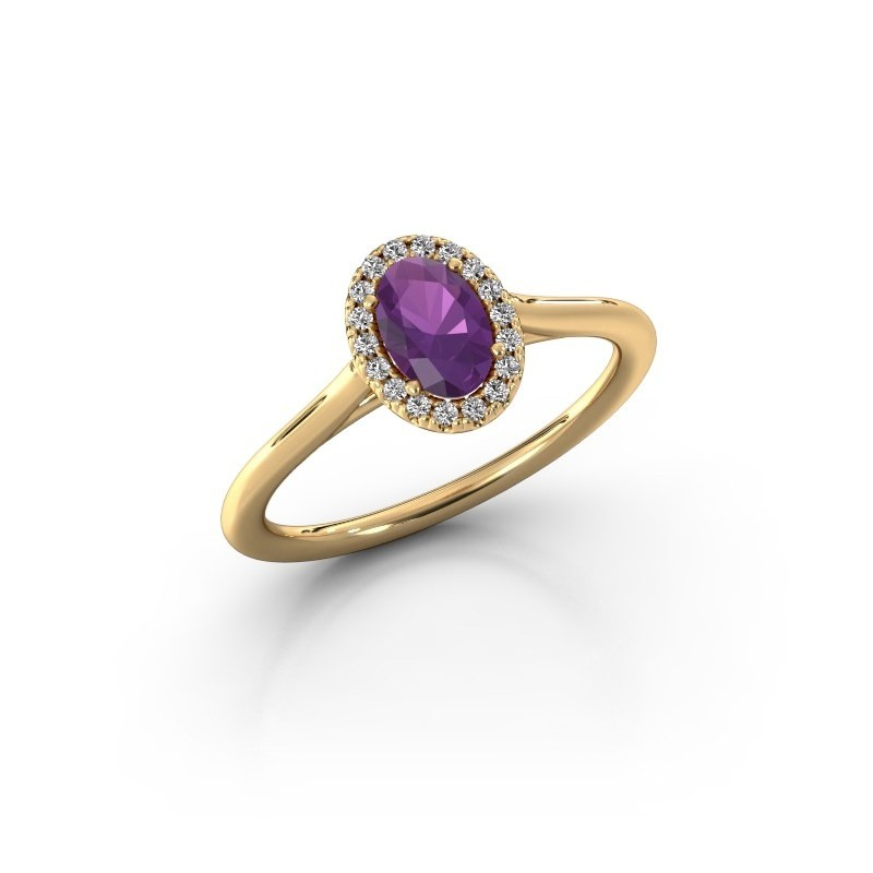 Engagement ring Seline 1 375 gold amethyst 6x4 mm