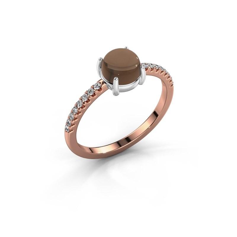 Ring Cathie 585 rosé goud rookkwarts 6 mm