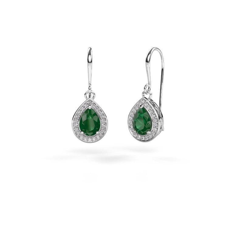 Oorhangers Beverlee 1 585 witgoud smaragd 7x5 mm