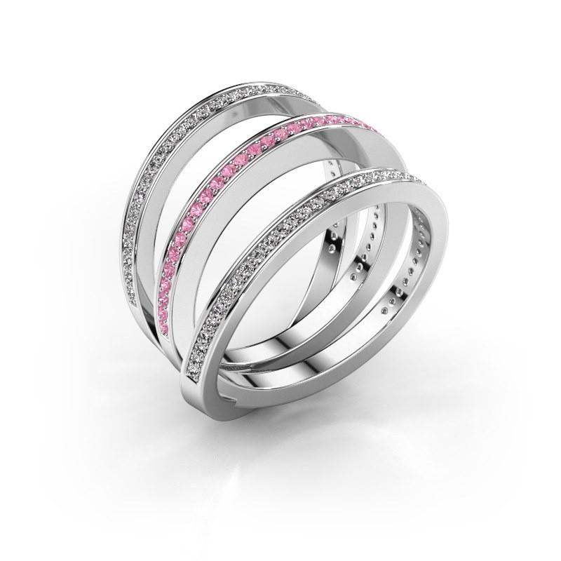 Ring Jaqueline 585 witgoud roze saffier 1 mm