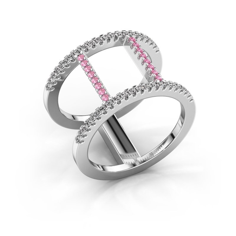 Ring Amee 585 witgoud roze saffier 1.2 mm