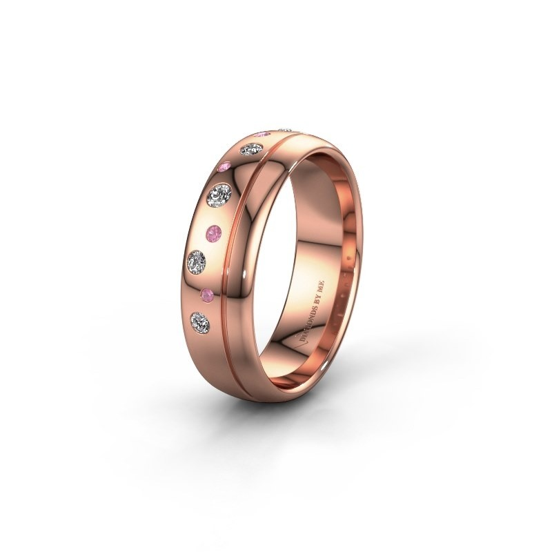 Trouwring WH0317L36AP 585 rosé goud roze saffier ±6x1.7 mm