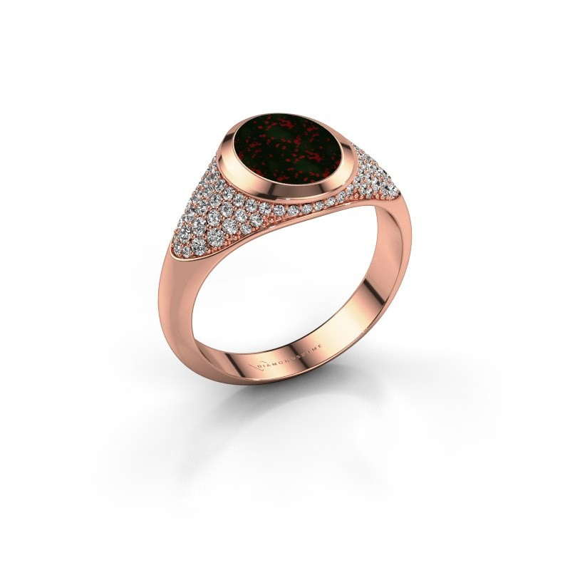 Signet ring Susana 375 rose gold bloodstone 10x8 mm