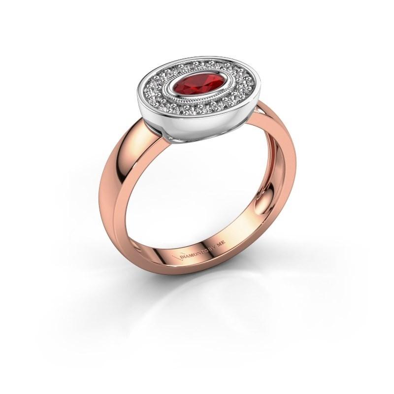 Ring Azra 585 Roségold Rubin 5x3 mm
