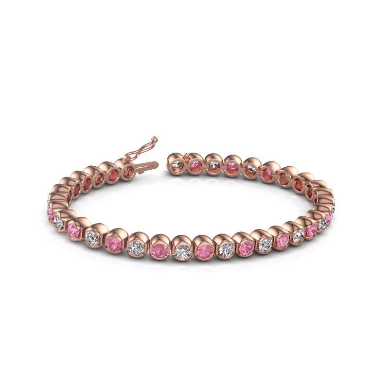 Tennis bracelet Bianca 375 rose gold pink sapphire 4 mm
