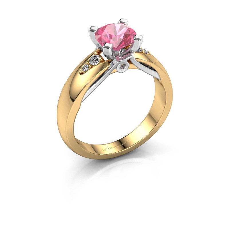 Verlovingsring Ize 585 goud roze saffier 6.5 mm