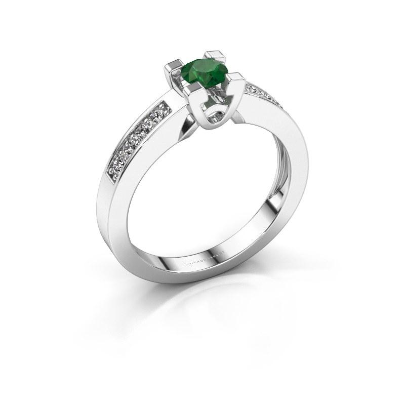Verlovingsring Nina 2 585 witgoud smaragd 4.2 mm