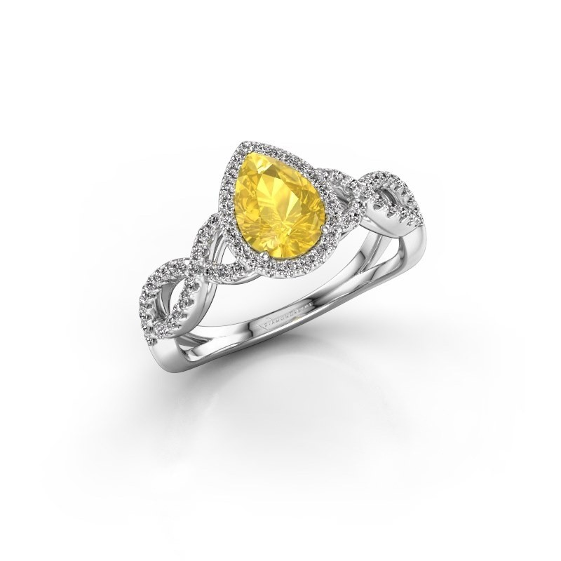 Engagement ring Dionne pear 950 platinum yellow sapphire 7x5 mm
