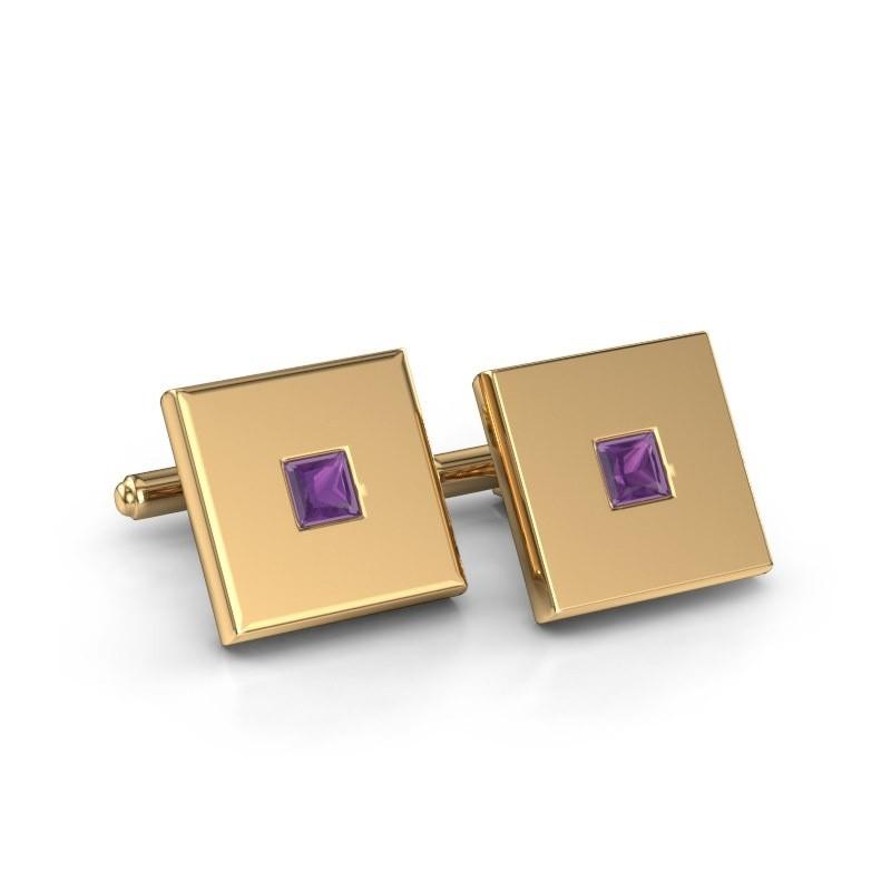 Cufflinks Givanti 585 gold amethyst 4 mm