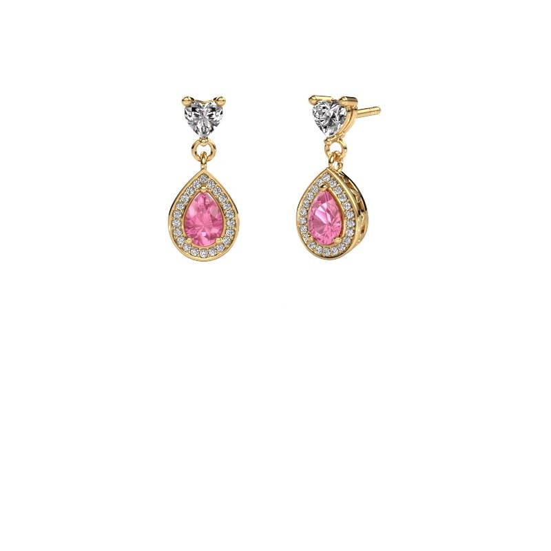Oorhangers Susannah 375 goud roze saffier 6x4 mm