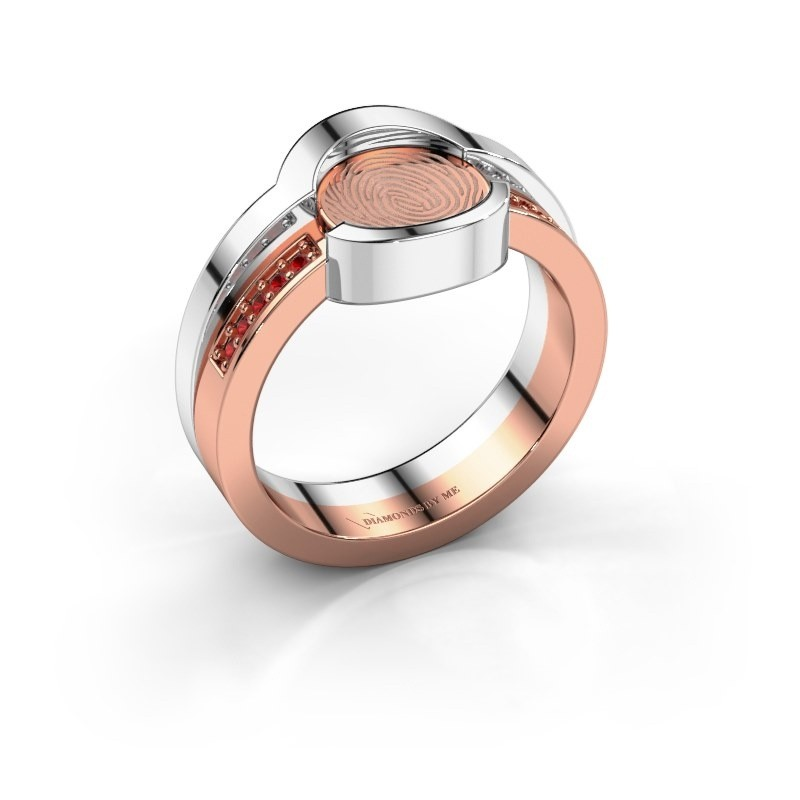 Ring Leander 585 rosé goud robijn 0.8 mm