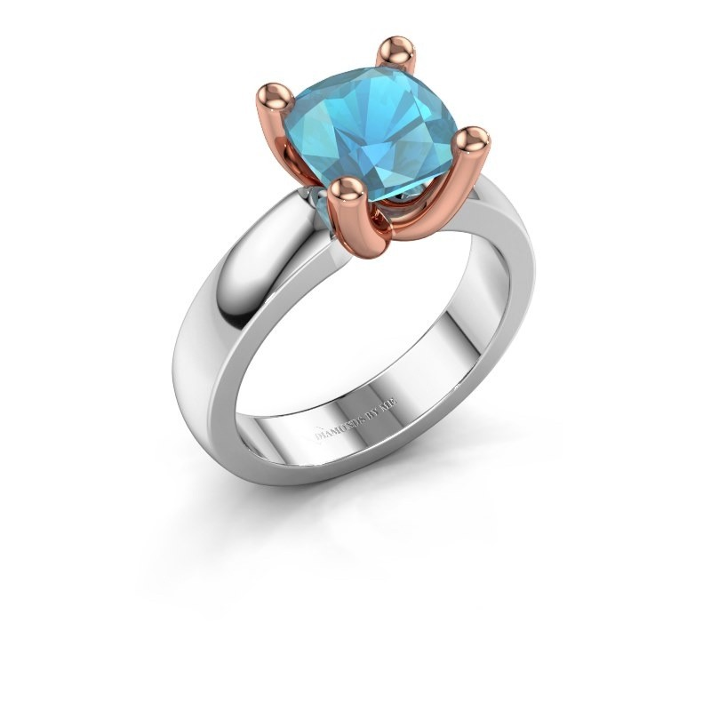 Ring Clelia CUS 585 witgoud blauw topaas 8 mm